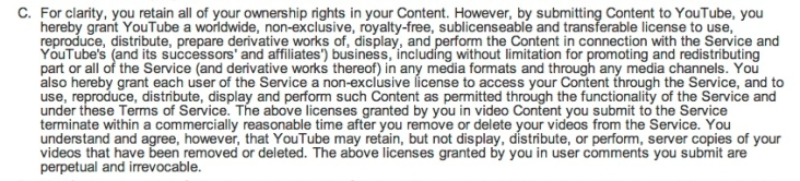 License to YouTube